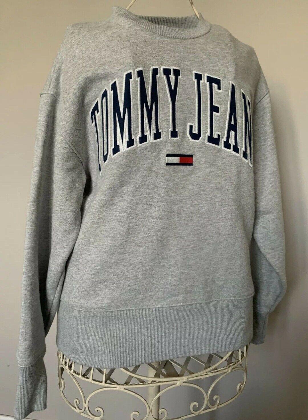 Tommy Hilfiger Grey Oversized Sweatshirt Size Uk 10/12/14 Genuine VGC