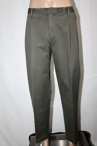 LANDS-039-END-Men-039-s-38-x-30-Olive-Green-Khaki-Tailored-Fit-Pleated-Pants-Chinos-EUC