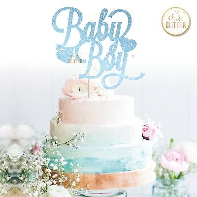 Oh Boy Gold Blue Red Silver Glitter Cake Topper Baby Shower Any Colour Gender