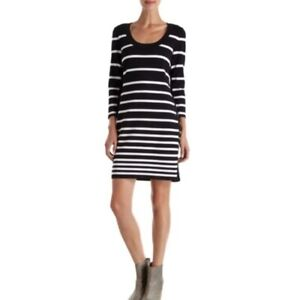 Rag-amp-Bone-Knit-Black-White-Striped-Dress-Small