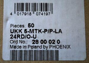 NEW Phoenix Contact UKK5-MTK-P//P-LA24RD//O-U Terminal Block Lot of 50