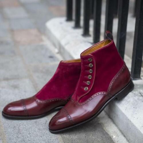 Men Burgundy ankle button boots Men casual boots Handmade Mens Button up boots