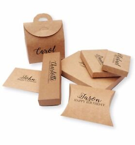 Details About Kraft Brown Personalised Gift Boxes Printed Name Message Christmas Birthday