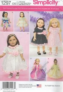 Pattern-Simplicity-Sewing-18-034-inch-Doll-Clothes-fit-Girl-Dress-7-Styles-2014-New