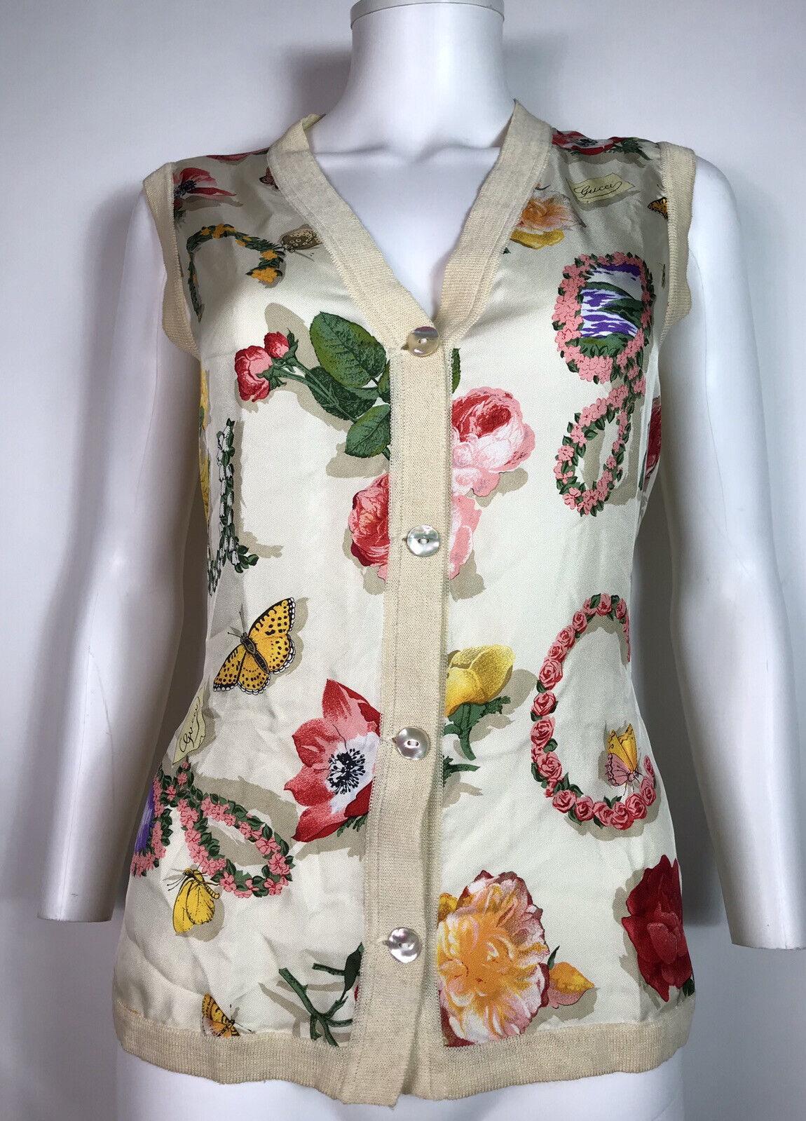 Rare Vtg Gucci 90s Ecru Floral Print Silk Linen B… - image 3