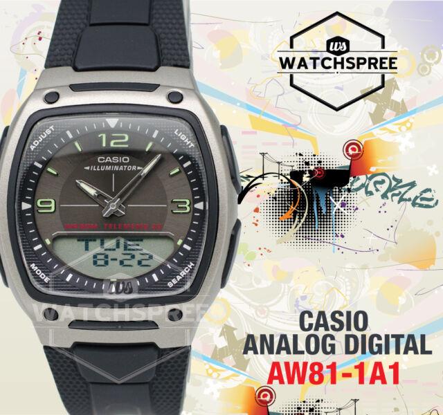 aacb08e86 Casio Aw-81-1a1 10 YR Battery Data Bank Analog Digital Black Resin Watch  Aw-81