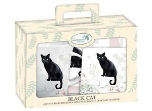 Black-Cat-Teatime-Gift-Set-Mug-Coaster-and-Tray-NEW-in-Cardboard-Gift-Box