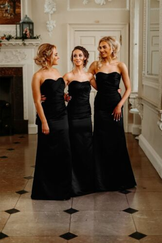 Sale Satin Strapless Floor Length Bridesmaid Wedding Dress Prom A-Line Ballgown