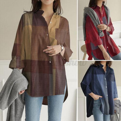 ZANZEA Women Long Sleeve Button Down Shirt Tee Plaid Loose Tops Blouse Plus Size