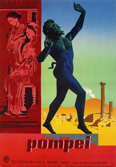 TV92 Vintage 1950's POMPEI Naples Italian Italy Travel Poster A4