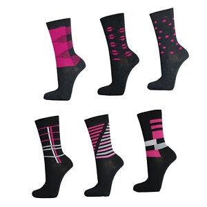 6-12-Paar-edle-Damen-Socken-Freizeit-Struempfe-pink-schwarz