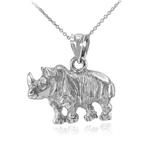 Fine Argent Sterling African Rhino Diamond Cut Collier Pendentif
