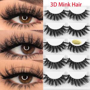a4f607945f1 SKONHED 5Pairs 3D Mink Hair False Eyelashes Wispy Fluffy Multilayers ...