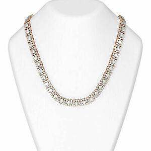 Ladies 18.Ct Round Cut Diamond Tennis Necklace 925 Silver 14kt Rose Gold Finish