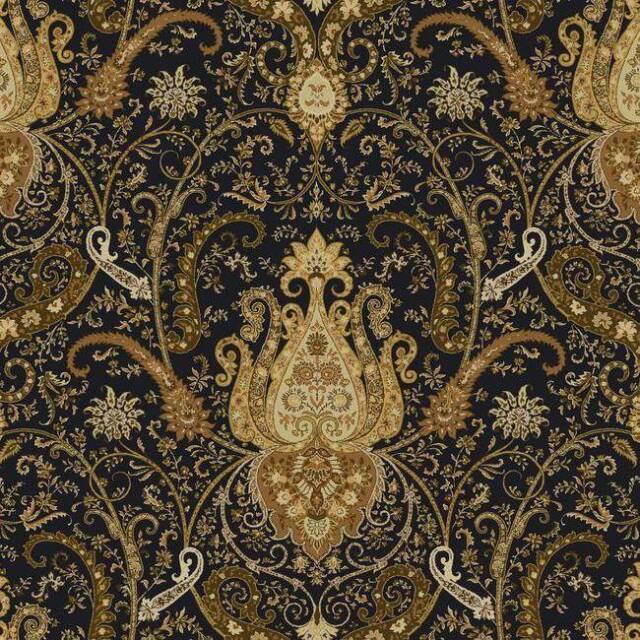 Wallpaper Waverly Classics Byzance Black Metallic Gold Large Paisley Damask