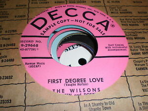 The-Wilsons-45-First-Degree-Love-DECCA-PROMO