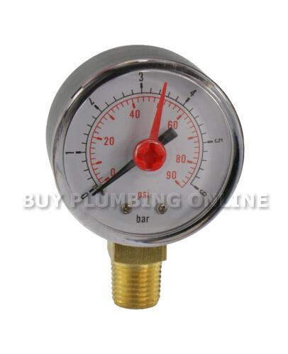 "Pressure Gauge 50mm 0-6 Bar 1//4/"" bottom thread"