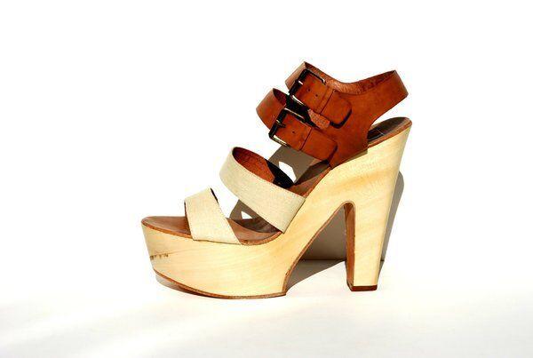 J. LITVACK 215 NEW Funky Leather & Wood PLATFORM Hippie shoes Heels 39 8.5