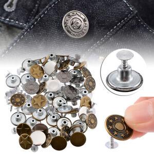 50-Set-Bottoni-Jeans-Bottoni-Metallo-Bottone-a-Pressione-17MM-Kit-per-Jeans