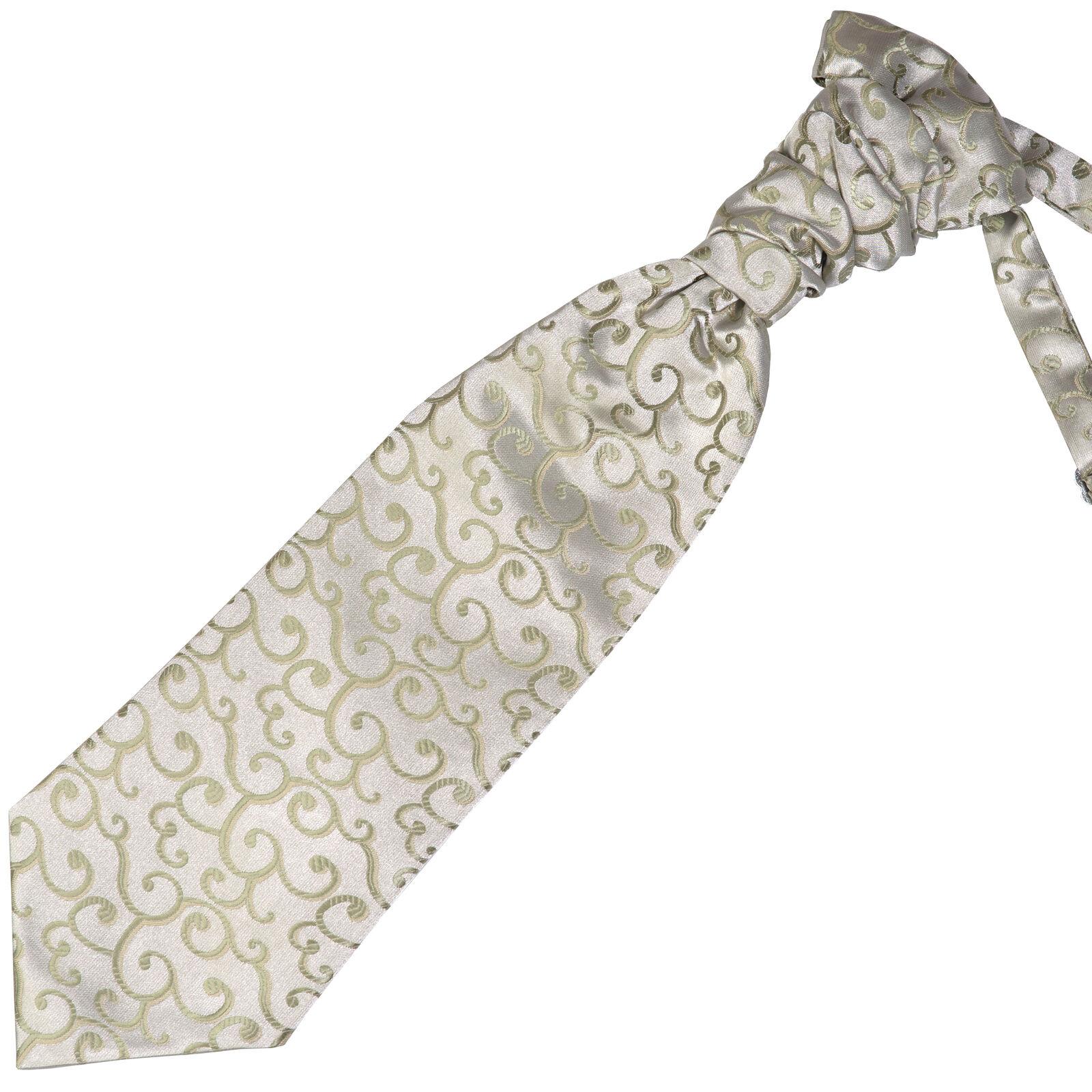 UK Cravat Royal Swirl Ruche Wedding Pre-Tied Ascot Cravat Multiple Colours