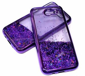 hot sale online c315f efe8d Details about For Samsung Galaxy J3 EMERGE Purple Glitter Stars Liquid  Waterfall Sparkle Case