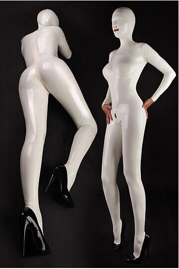 Latex Rubber White Catsuit Suit Hood Mask Zentai Bodysuit Leotard Body