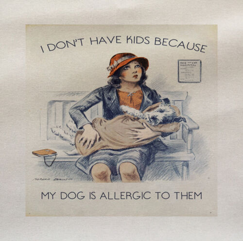 I Dont Have KIds My Dogs Allergic Printed On Fabric Panel  Upholstery Craft