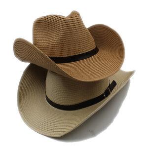 bd511459d31 Men Women Kids Child Boys Girls Straw Western Cowboy Hat Wide Brim ...
