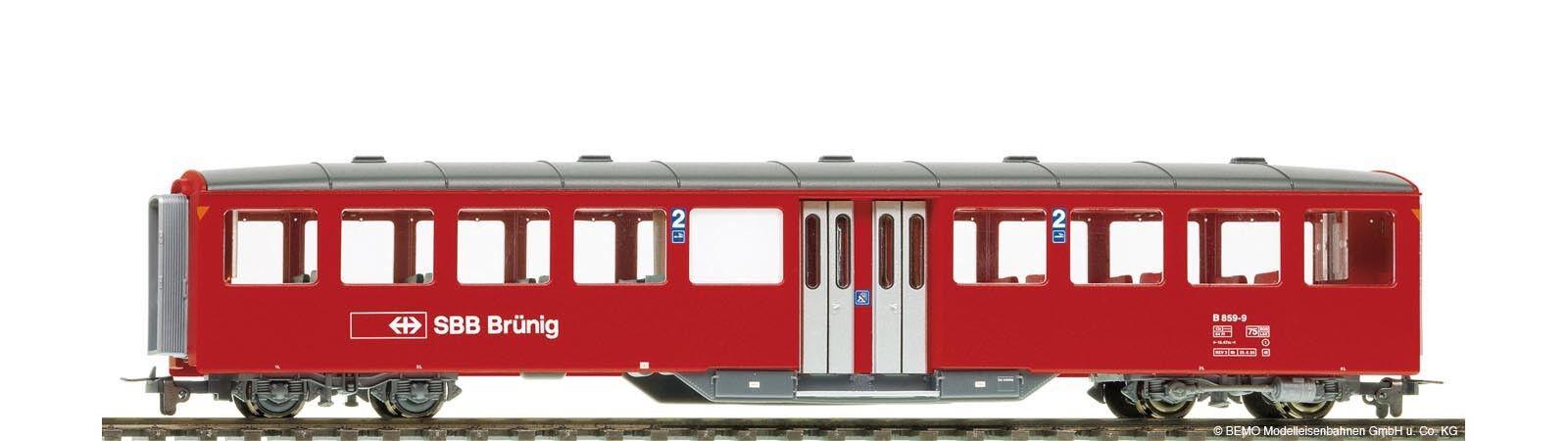 BEMO-h0m - 3257439 carreggiata stretta-Vagoni 2.kl.b859 SBB-Brünig rosso un tempo medio
