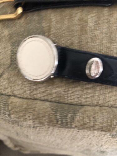 Longchamp SKINNY BLACK white leather Belt Round LO