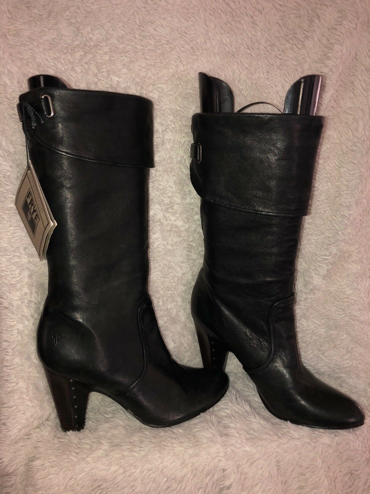 FRYE Bethany Cuff Shortie Boots Black Leather Mid Calf  Sz 9 NWT