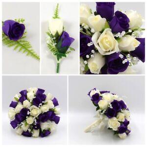 Details About Silk Artificial Wedding Flowers Purple Ivory Bouquet Posy Table Decoration