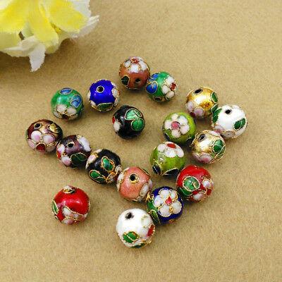 30//50PCS CLOISONNE Bead Enamel Round Ball Spacer Loose Floral Métallique 6 mm 8 mm