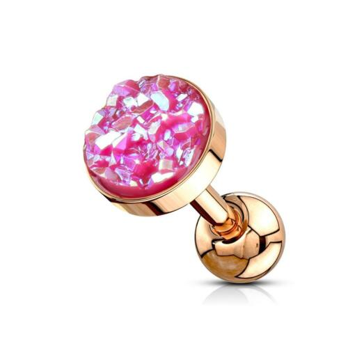 Rose Gold PVD Cartilage//Tragus Stud with Pink Druzy Stone Flat Set Top