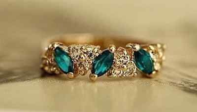 Fashion Bule Crystal size 6 Koream Style Charm Emerald flash drill Vintage Ring
