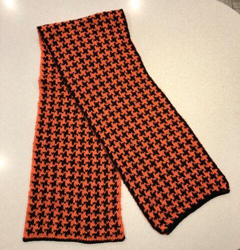 Chunky wool Dogtooth Écharpe-noir//orange