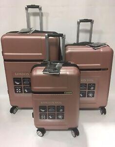 London Fog Westbury Spinner Lightweight Hard Luggage Set Expandable Rose Gold Ebay