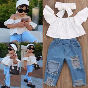 502d414c2babd Toddler Girls Kids Off Shoulder Tops Denim Pants Jeans 3pcs Outfits ...