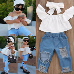 62c38b3a489e Toddler Girls Kids Off Shoulder Tops Denim Pants Jeans 3pcs Outfits ...