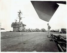 1957 Vintage DBLWT Photo flight deck aircraft carrier USS Saratoga at Portsmouth