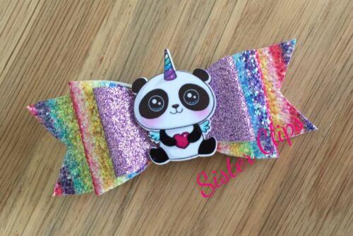 "Girls Handmade cute rainbow unicorn panda glitter 4/"" bow hair clip"