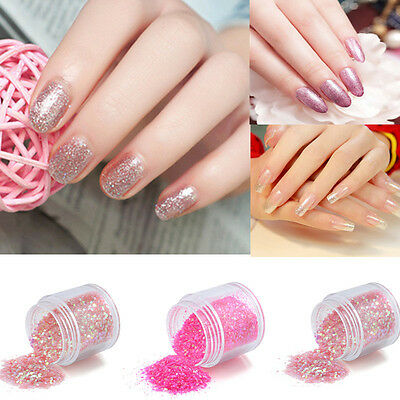 3 Colors Nail Art Glitter Powder Dust Decoration Kit For Acrylic Tips UV Gel DIY