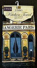 NWT PARIS FRENCH CAFE BISTRO KITCHEN JUMBO HAND TEA 2 TOWELS 17x27 HOME DECOR