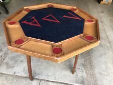 Antique Vintage Folding Wood Felt Retro Poker Game Casino Gambling Table Seats 8