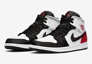 "Nike Air Jordan 1 Mid SE ""Union Black Toe"" Red Black White 852542-100 Men's NEW"