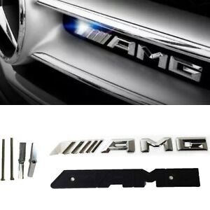 Mercedes-AMG-Silver-Chrome-Front-Grill-Grille-Badge-Emblem-A45-C43-C63-E63