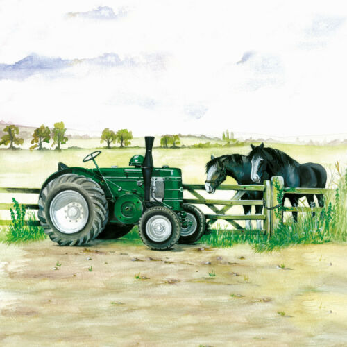 Sue Podbery Field Marshall and shires Tractor Glass Coaster Made in the UK 3446