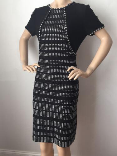 New St John Knit Sz 8 Womens Dress Black &Amp; White Sheath Wool &Amp; Rayon by St John Knit