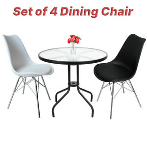 NEW-Comfortable-Metal-Base-Dining-Chair-with-Back-Set-of-4-Black-White-Modern-WF