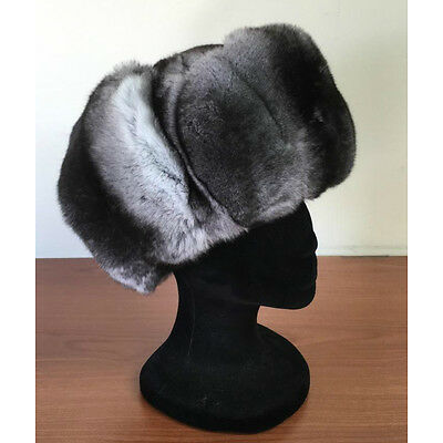 NEW UNISEX CHINCHILLA FUR HAT TRAPPER AVIATOR STYLE FULL FUR  ALL SIZES